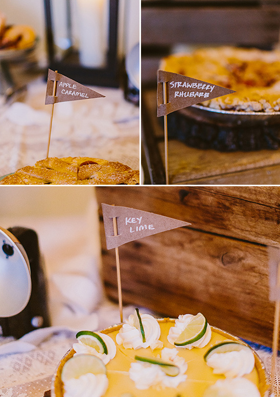 wedding pies with cute pennent labels