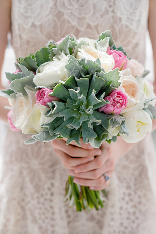 large greens used in floral bouquet