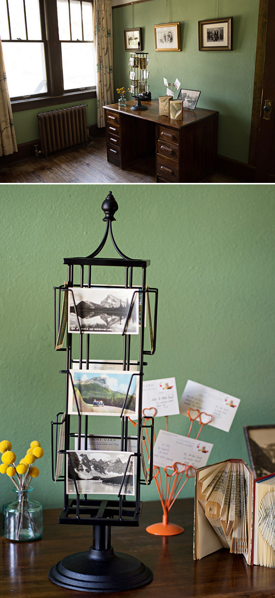 postcard rack guestbook idea