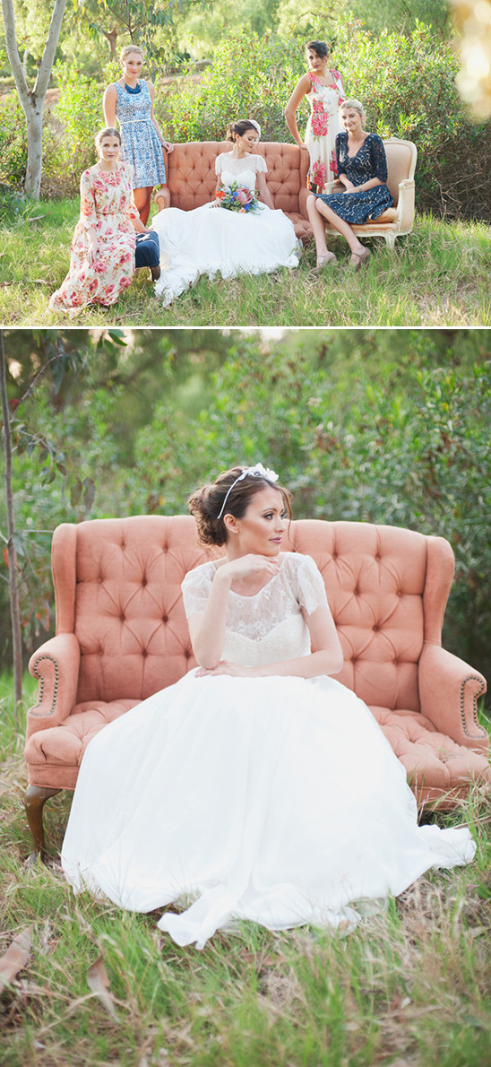 red and blue bridesmaids on vintage couch