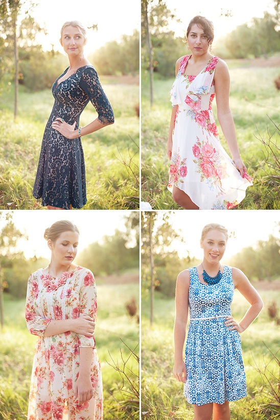 blue and floral bridesmaids dresses
