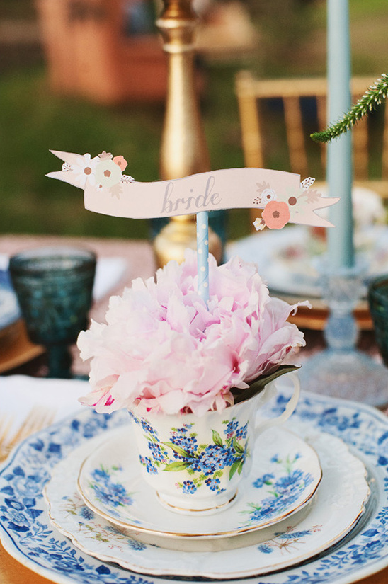 bride placecard in a teacup