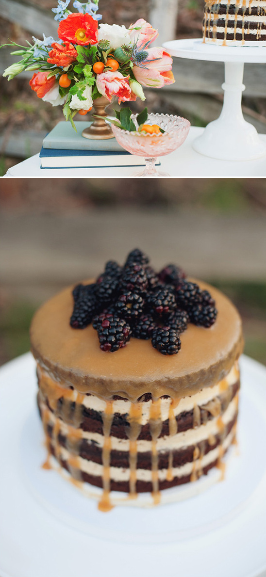 caramel blackberry wedding cake