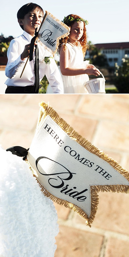 here comes the bride flags