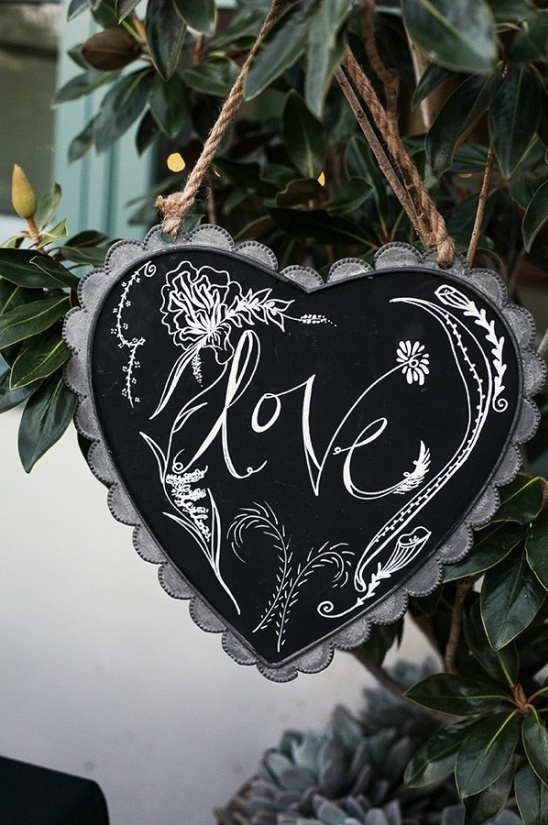 heart shaped love chalkboard sign