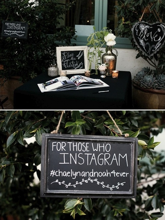 welcome table and instagram sign
