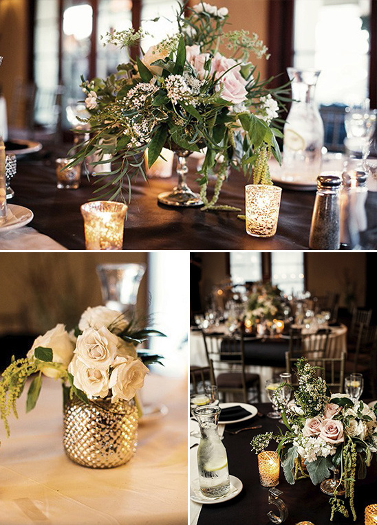pedistal bowl and mercury glass centerpieces