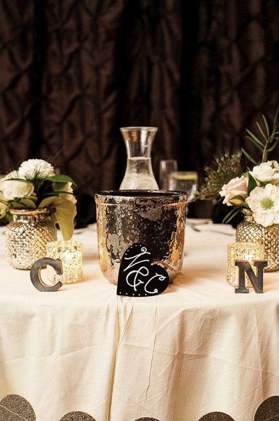 sweetheart table with champagne bucket