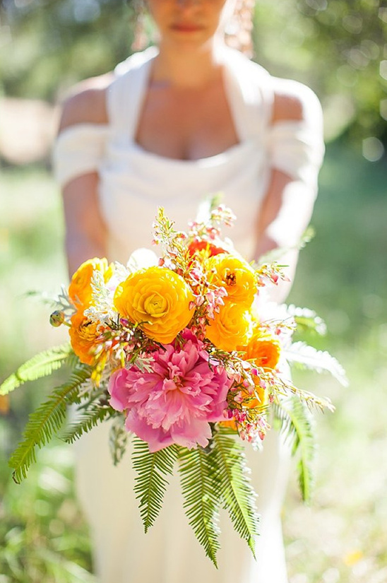 yellow and pink wedding bouquet
