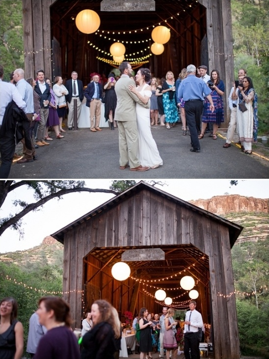 first dance and glowing covered bridge