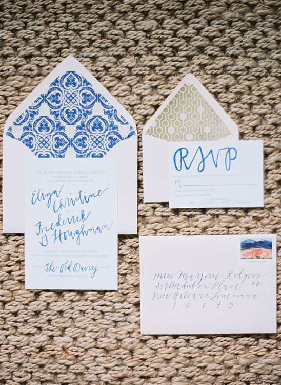 blue and gold wedding stationery