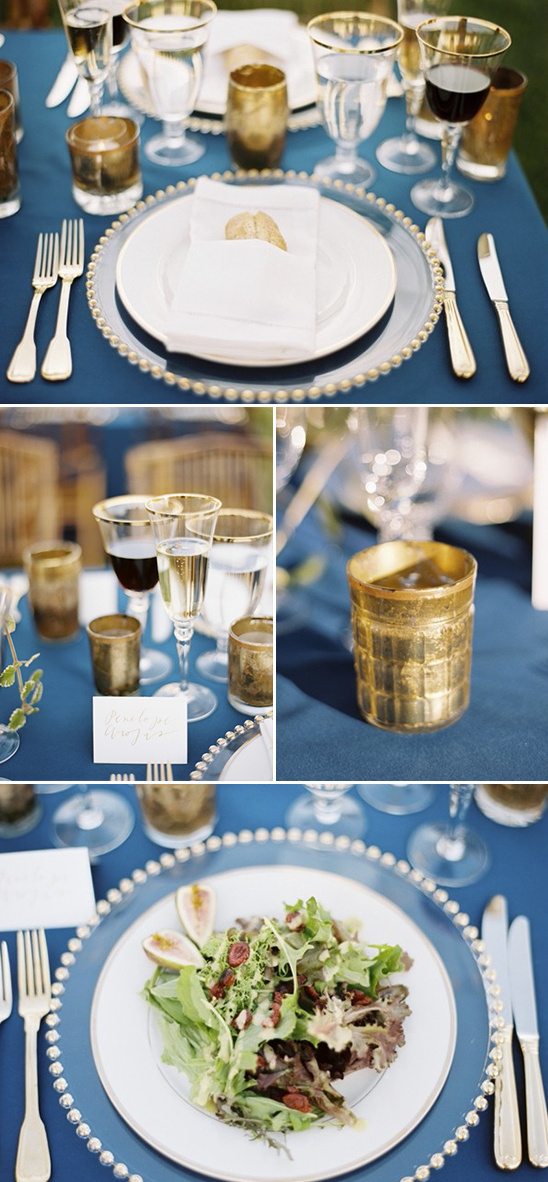 royal blue and gold reception tablescape