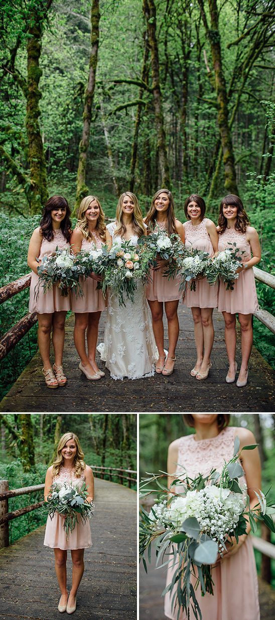 pink bridesmaids dresses and loose bouquets