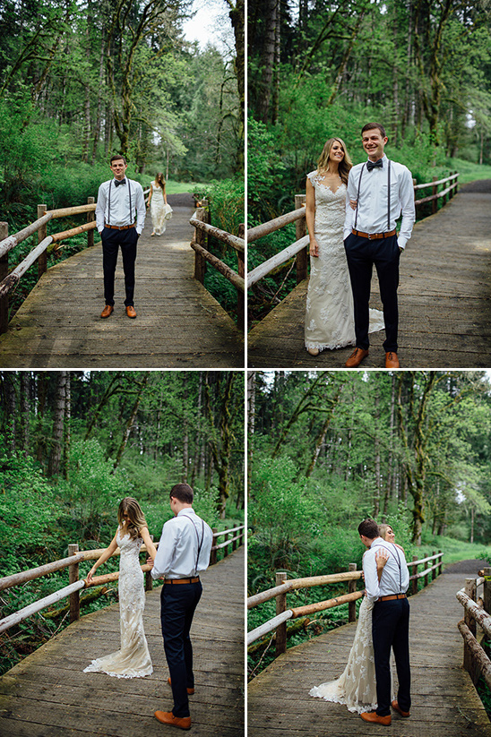 wedding first look on bridge