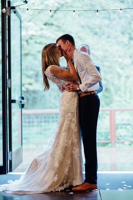 kissing the bride with foot pop