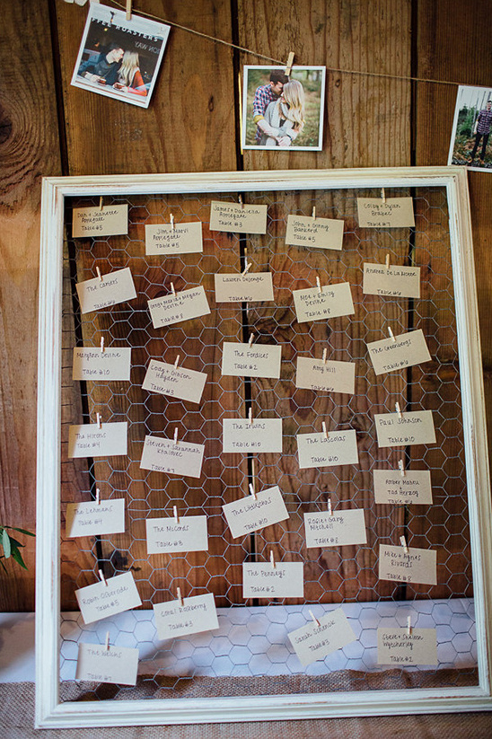 chicken wire escort card display