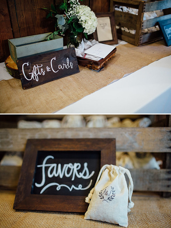 gifts, cards, and favors table