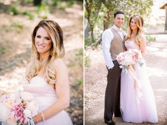 pink wedding dress and tan white and black groom look