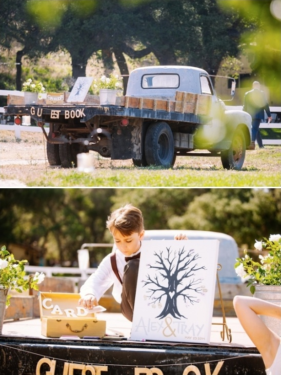 truck bed guetsbook table with cute thumbprint tree