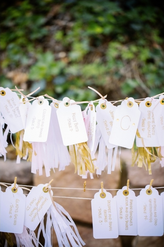 pink and gold tassel banner escort card display