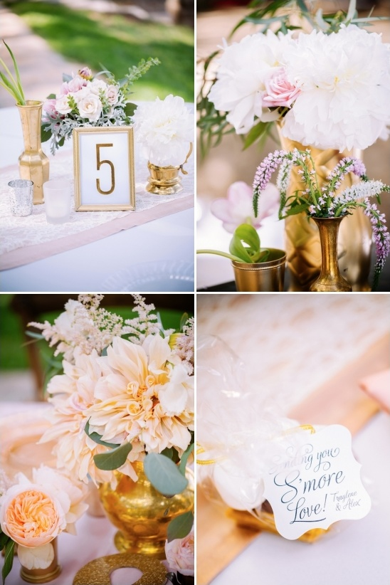 pink peach and gold reception decor and cute sending you smore love smore favor