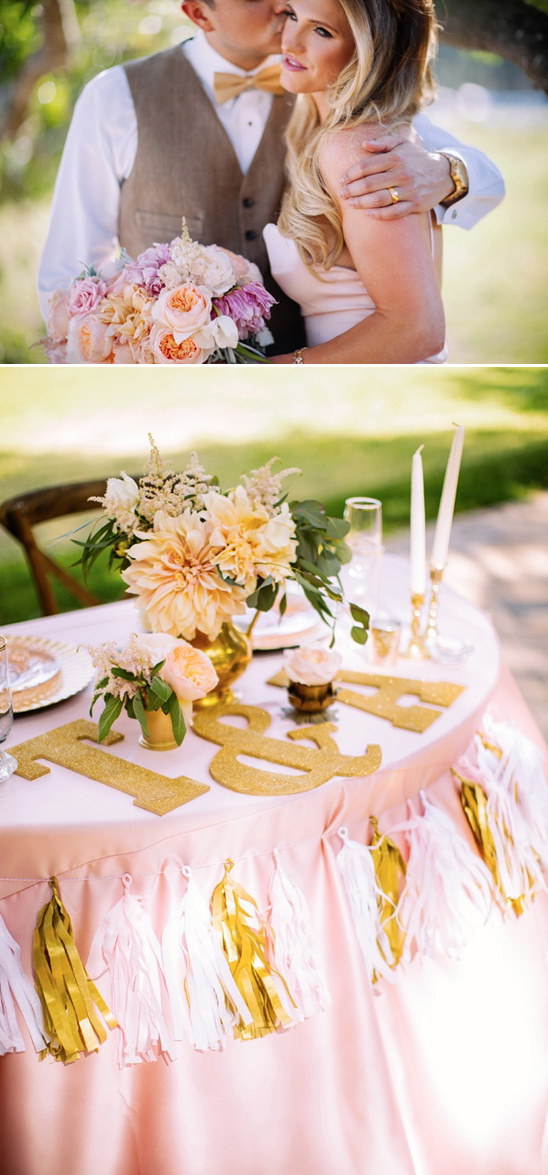 gold and pink sweetheart table