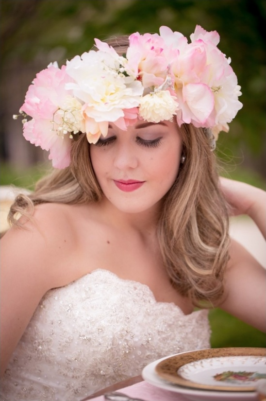 gorgeous pink and white floral crown