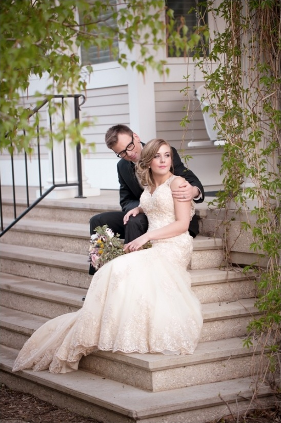 lace accented champagne colored wedding dress