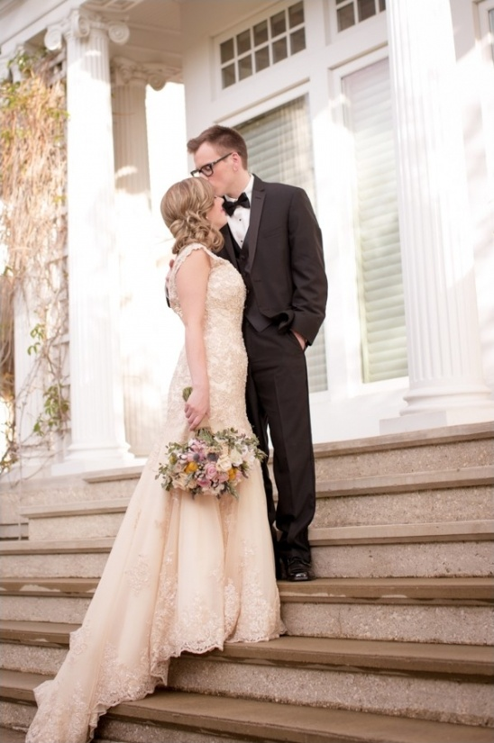 champagne wedding dress and tuxedo groom
