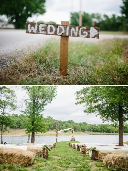 outdoor wedding ceremony with hay bale seats