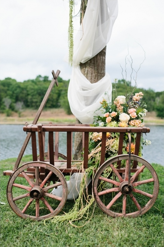 wooden wagon and floral arrangement
