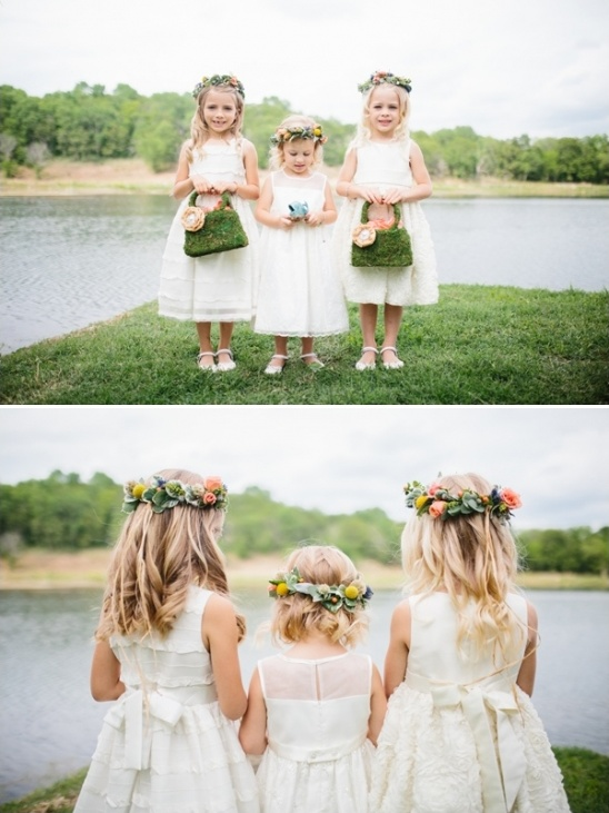 flower girls with floral halos