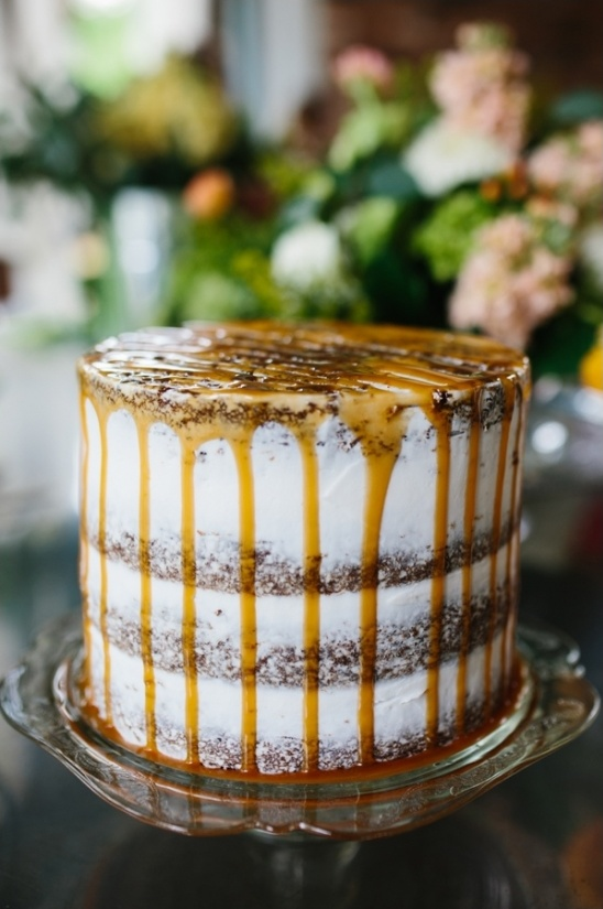 caramel dripped cake made by friends and family