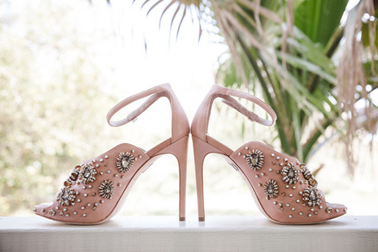 bedazzled pink wedding shoes