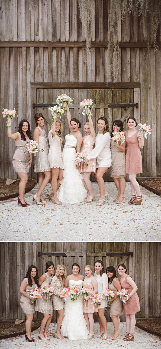 cream and pink bridesmaids dresses