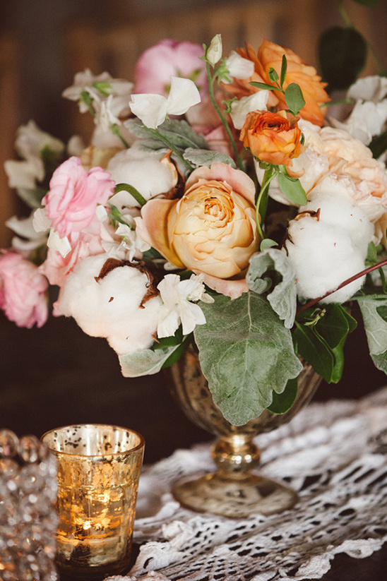 rose and cotton centerpiece