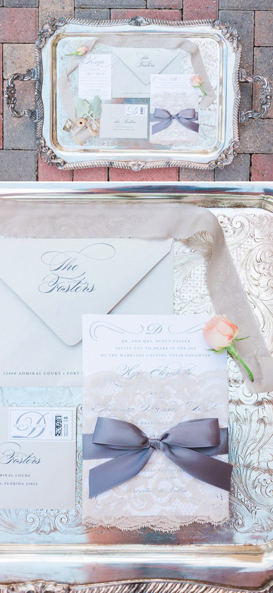 vintage lace wedding stationery