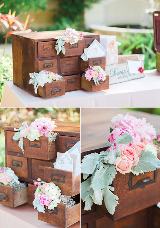 floral filled card catalog card holder