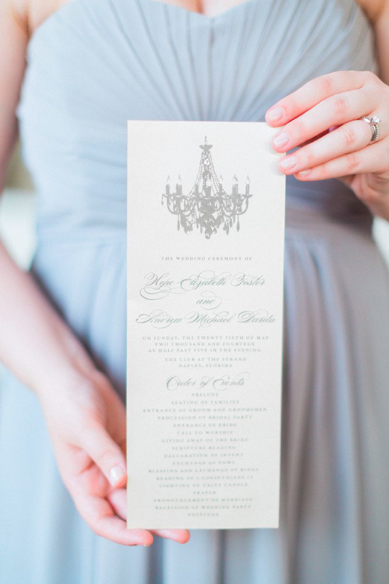 grey chandelier wedding programs