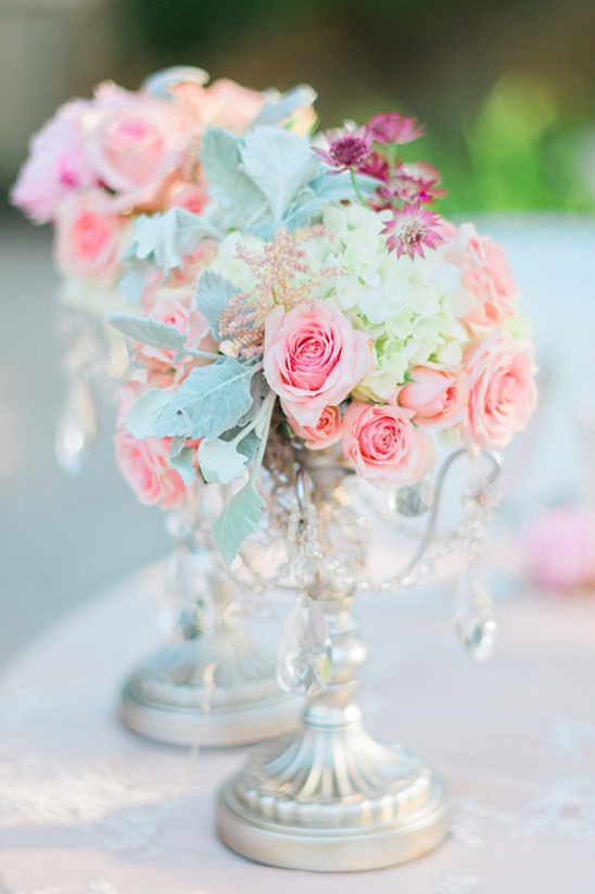 crystal laden floral centerpieces