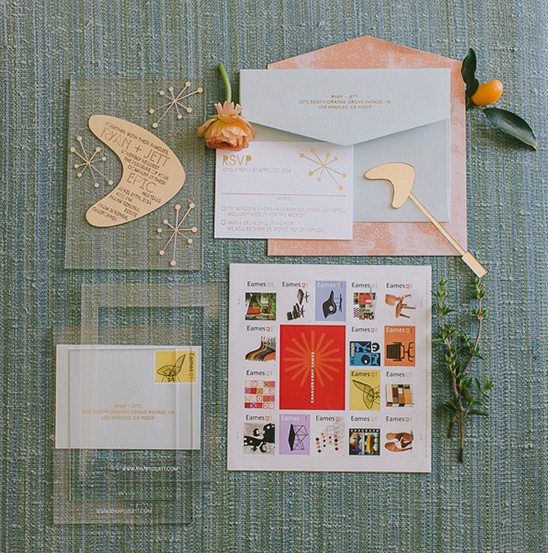modern wedding stationery and stamps