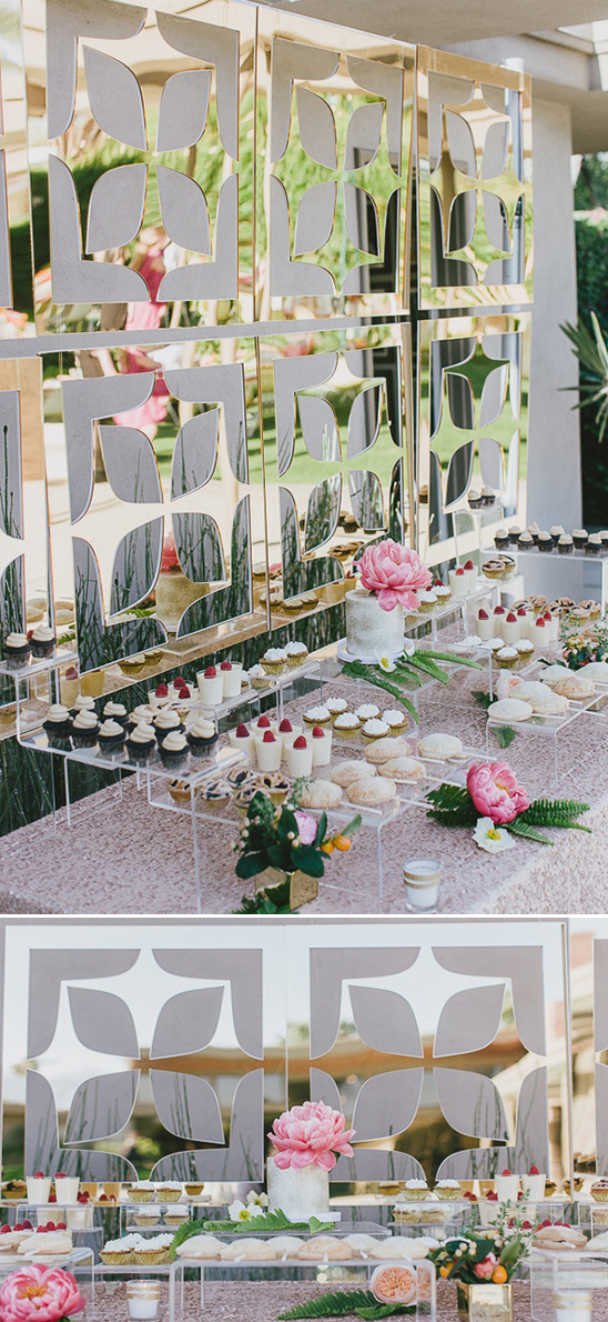 mirror backdrop cake table