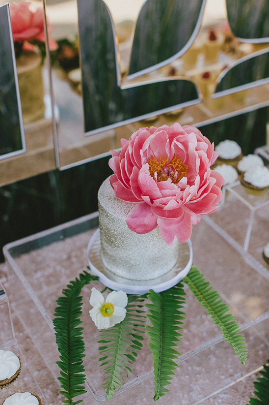 silver dusted wedding cake