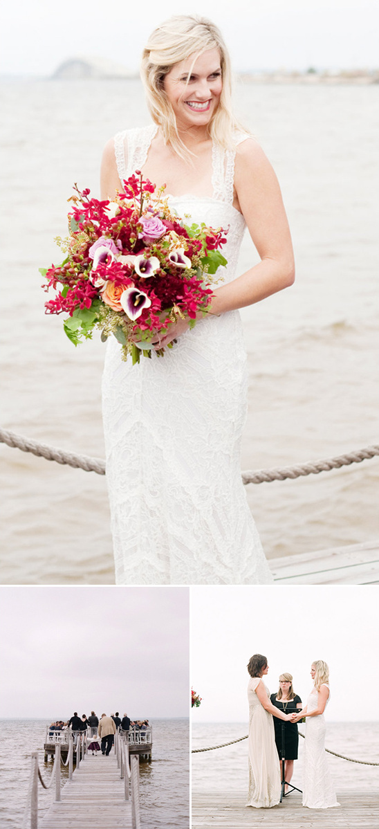 gorgeous fall wedding on a dock
