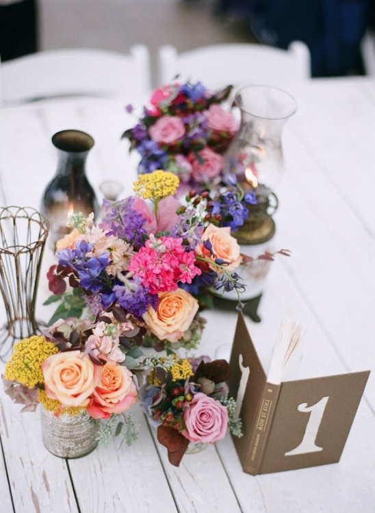 table number book with antique centerpiece elements