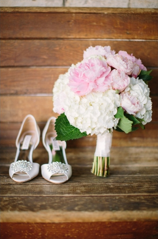 sparkly wedding shoes and hydrangea and peony bouquet