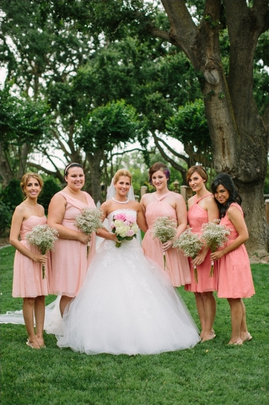 coral JCrew bridesmaid dresses