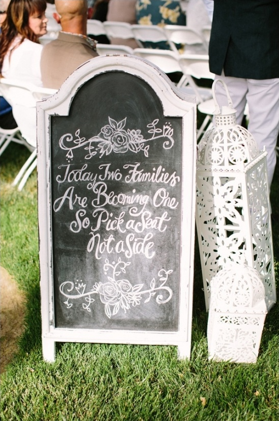 pick a seat not a side ceremony sign