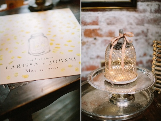 our love glows firefly themed guestbook table