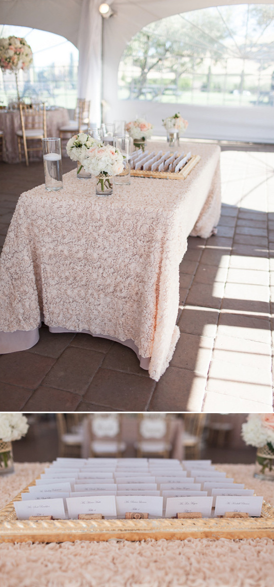 welcome and escort card table with frilly tablecloth